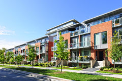 Modern town houses Stock Images