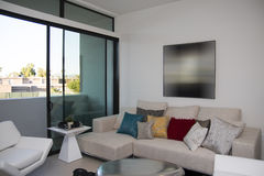 Modern Townhome Apartment Building. Living room of modern expensive multi-story town home apartment Stock Images