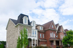 Modern Townhomes. Detached family homes on residential street stock photos