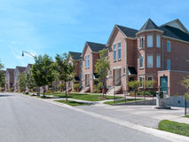Modern Townhomes. Family homes in residential neighborhood royalty free stock photography