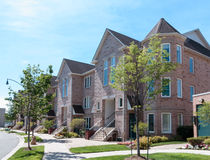 Modern Townhomes. Family homes in residential neighborhood royalty free stock images
