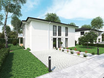 Modern townhouse. 3d rendering. Modern townhouse with a lot of green. 3d rendering Stock Photo