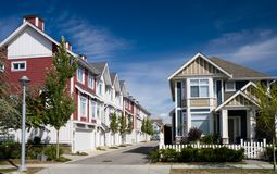 Modern townhouses. In Richmond, British Columbia royalty free stock photos