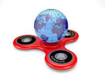 Modern toy spinner and earth globe 3d illustration. Stock Photos