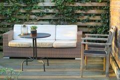 Modern trädgård i naturlig atmosfär fotografering för bildbyråer