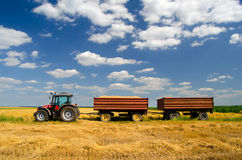 Modern tractor on the agricultural field. Modern red tractor on the agricultural field on sunny summer day stock images