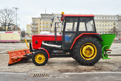 Modern tractor for cleaning streets parked Royalty Free Stock Photo