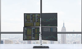 A modern trader's workplace or station which consists of four screens with financial data in a bright modern open space panoramic. Office. New York in the Stock Image