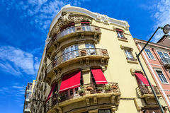 Modern with tradition. Picturesque row of houses in Lisbon, Portugal Royalty Free Stock Photos