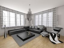 Modern traditional black 3d interior Royalty Free Stock Image