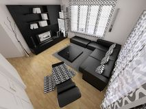 Modern traditional black 3d interior Stock Images