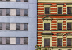 Modern and Traditional Facade. Detail of a facade with a contrast between modern and traditional elements Royalty Free Stock Photos