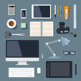 Modern and traditional office supplies. For marketing and advertising agency stock illustration