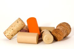Modern and traditional wine cork. Macro of many different wine cork, isolated on white Stock Photography
