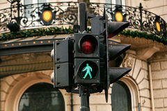 Modern traffic light in Amsterdam. The green light is on. It is allowed to cross the road. Europe. Royalty Free Stock Image