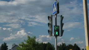 Modern traffic light at a pedestrian crossing. Modern traffic light at a pedestrian crossing stock video