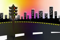Modern traffic lights and high way Stock Photo