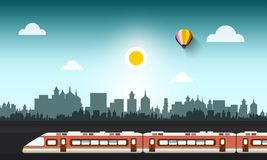 Modern Train in Abstract City. Vector Illustration Stock Image