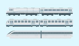 Modern train collection with 3 models option - vector vector illustration