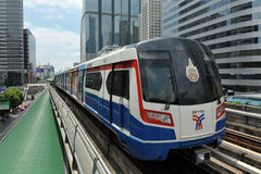 Modern Train on Elevated Rails in Bangkok. A BTS Skytrain on elevated rails in Sathorn district on September 12, 2012 in Bangkok, Thailand. Each train of the Stock Photo