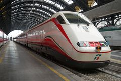 Modern train FrecciaBianca company Trenitalia at the platform of the central railway station, Milan Stock Photos
