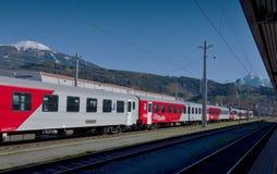 Modern train in Innsbruck train station, Austria Stock Images