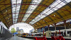 Modern train leaves the Victoria railway station. London, England stock footage