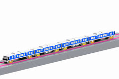 Modern train model 3D the white background. Royalty Free Stock Images