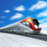 Modern Train In Motion Stock Photo