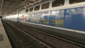 Modern train in motion. stock footage