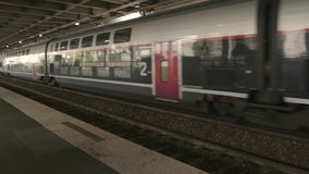 Modern train at the platform. Fastest public transport stock footage