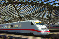 Modern train on Railway Station in Europe. Royalty Free Stock Images