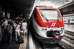 Modern train at the railway station Termini Royalty Free Stock Image