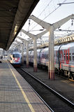 Modern train Sapsan arrival on station in Russia, Saint Petersburg Royalty Free Stock Photos