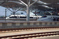 Modern train station in Changsha, China. CHANGSHA - HUNAN, CHINA - OCTOBER 3: China invests in fast and modern railway, trains with speed over 340 km/h. Newly stock photo