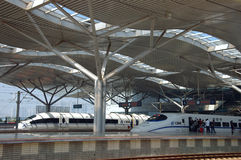 Modern train station in Changsha, China. CHANGSHA - HUNAN, CHINA - OCTOBER 3: China invests in fast and modern railway, trains with speed over 340 km/h. Newly royalty free stock image