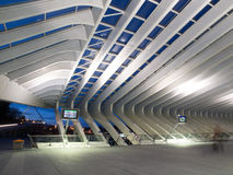 Modern Train Station At Night Stock Photography