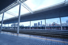 Modern train station Stock Images
