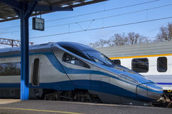 MODERN TRAIN IN STATION Stock Images