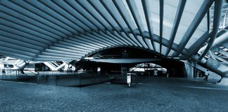Modern train/subway station. (blue tone Royalty Free Stock Photos
