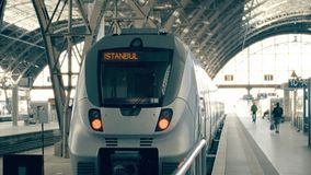 Modern train to Istanbul. Travelling to Turkey conceptual intro clip. Modern train to Istanbul. Travelling to Turkey conceptual intro stock footage