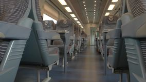Modern train wagon interior. Create comfortable conditions for passengers stock video