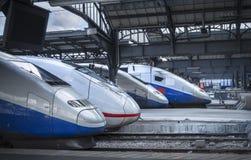 Modern trains locomotive in train station royalty free stock photo