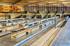 Modern trains at Zaragoza-Delicias station, Spain Stock Photo
