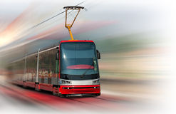 Modern tram. Modern fast tram with motion blur Royalty Free Stock Photography