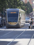 Modern tram on Avenue Jean Medecin, Nice, France Stock Photo