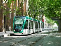 Modern tram in Barcelona Royalty Free Stock Images