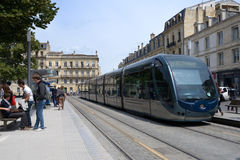 Modern tram in Bordeaux Royalty Free Stock Images