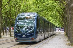 Modern tram in Bordeaux, France