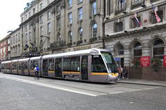 Modern tram in the center of Dublin Royalty Free Stock Photos